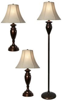 Set of 3 Dunbrook Bronze Finish Floor and Table Lamps $159.91