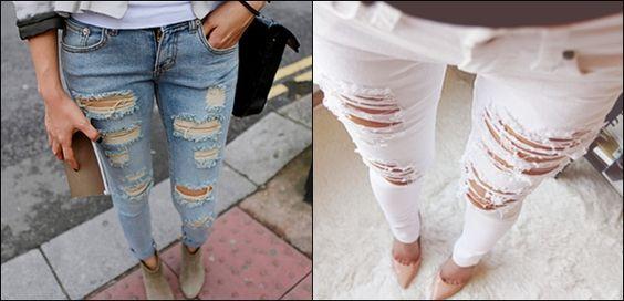Jeans detonado. Super curto.