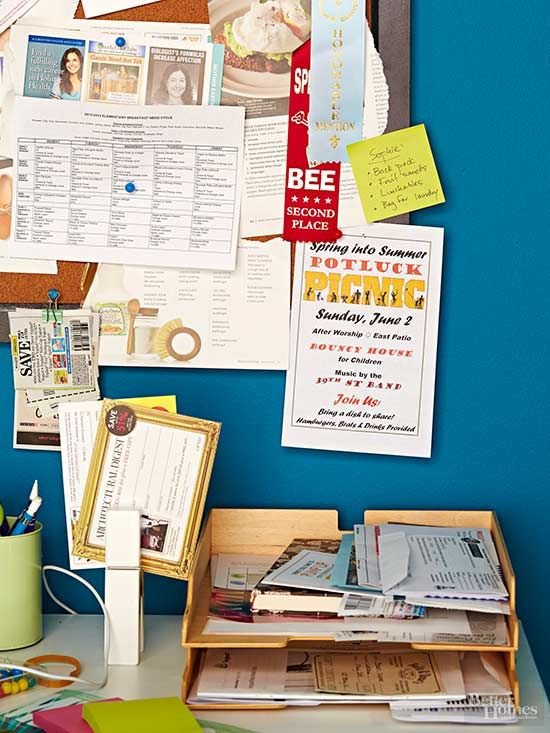 Gain control over incoming household mail and papers by using clever organizers that keep your desktop free for work.