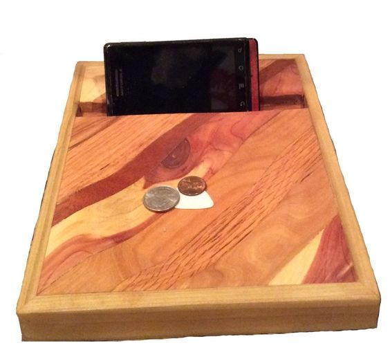 """Phone/Tablet Charging Stand with Catch all Tray/ Electronic docking station / Rustic Charging Stand / Wood Docking station / Wood Charging Stand/ Phone command center. Phone/Tablet charging station with a coin, key catch all tray. Dimensions 7 3/4"""" x 9 3/4"""".Tablet and phone holder with valet tray, reclaimed barn wood, wooden catchall, & fully handmade. made to fit most devices.The holder can accommodate small everyday objects, such as thumb drives, office clips, coins, watches and more...."""