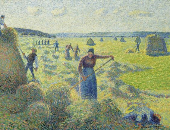 """""""Hay Stacking,"""" Camille Pissarro, 1887"""