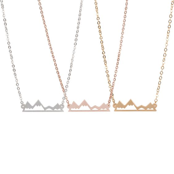 * Mountain inspired necklace for mountain lovers, outdoor lovers, skiers and hikers - available in 3 colors - gold, rose gold and silver * A simple way to express your personality and share your love