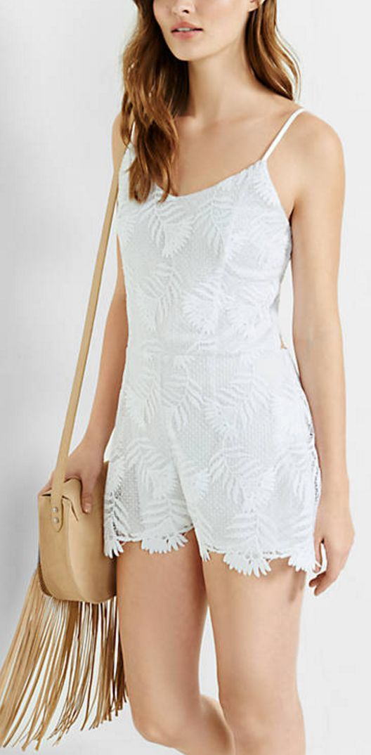 White, Floral Lace, Tie-Back Romper