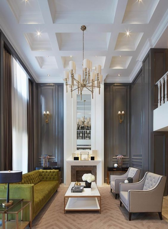 Gorgeous dark walls and high ceilings with minimal but traditional statement furniture pieces for Living room ideas high ceilings