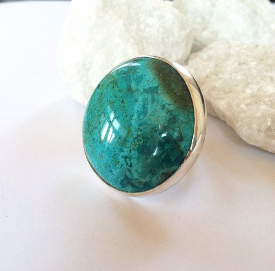 Chrysocolla Caribbean Ring by GLAMROCKSdesigns on Etsy, $165.00
