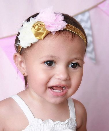 Look at this #zulilyfind! Pink & Gold Sparkle Shabby Flower Headband #zulilyfinds