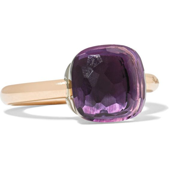 Pomellato Nudo Classic 18-karat rose gold amethyst ring ($2,350) ❤ liked on Polyvore featuring jewelry, rings, rose gold, 18 karat gold ring, 18k jewelry, pink gold jewelry, 18 karat gold jewelry and 18k rose gold jewelry