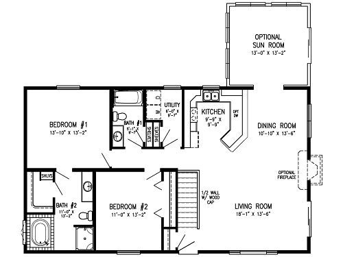 672 sq ft 2 bedroom mobile home floor plan