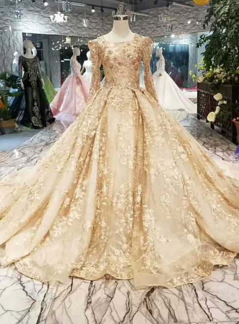 Champagne Gold Lace Ball Gown Long Sleeve Wedding Dress With Long Train Wedding Dress Long Sleeve Ball Gowns Wedding Wedding Dresses Unique