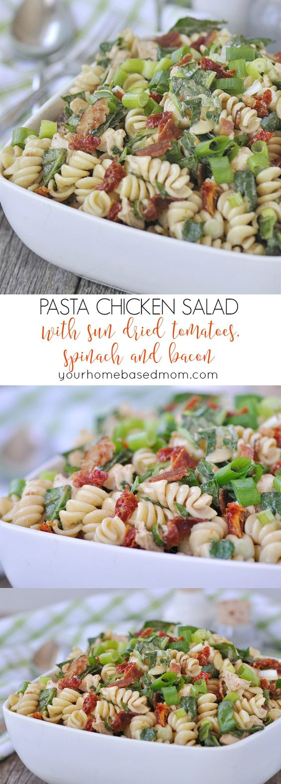 Pasta Chicken Salad with Sun-Dried Tomatoes, Spinach and Bacon Recipe via Your Homebased Mom - packed with sun dried tomatoes, spinach and bacon. So yummy! Easy Pasta Salad Recipes - The BEST Yummy Barbecue Side Dishes, Potluck Favorites and Summer Dinner Party Crowd Pleasers #pastasaladrecipes #pastasalads #pastasalad #easypastasalad #potluckrecipes #potluck #partyfood #4thofJuly #picnicfood #sidedishrecipes #easysidedishes #cookoutfood #barbecuefood #blockparty