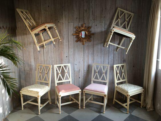 6 Stühle im gustavianischem Stil, Schweden um 1900 ( unrestauriert )