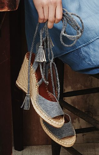Love these denim wedge espadrilles