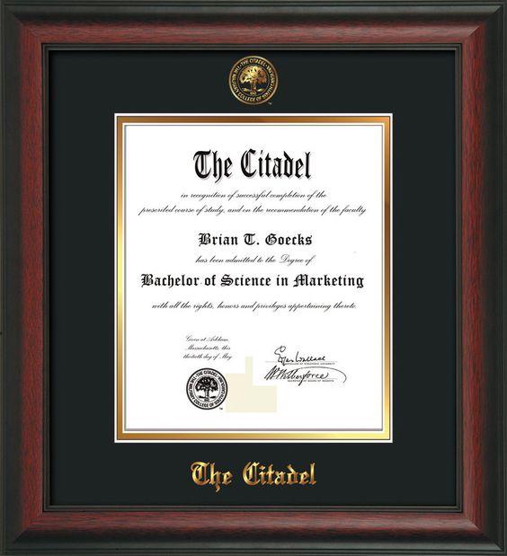 the citadel diploma frame rosewood citadel seal black on gold professional framing