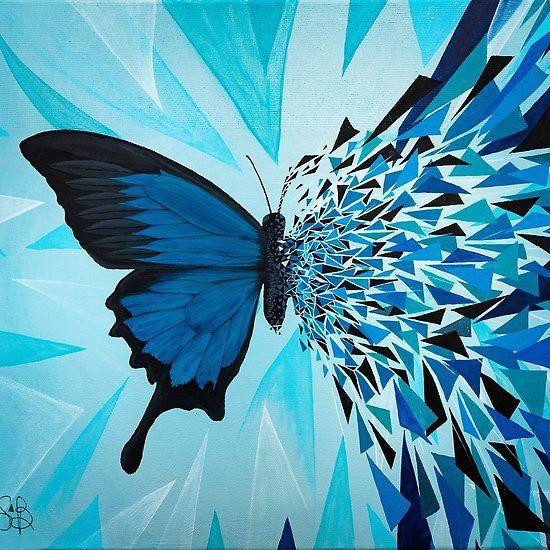Explosion Geometrica Mariposa Azul Pintura Circular Lienzo De Mariposa Pinturas Acrilicas Arte