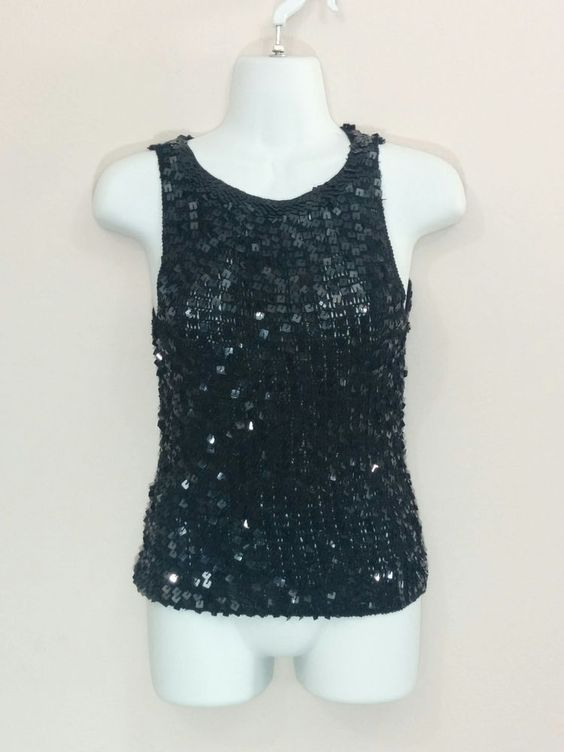 52 Weekends black sleeveless shirt blouse w/ square sequins, Large, #3269…