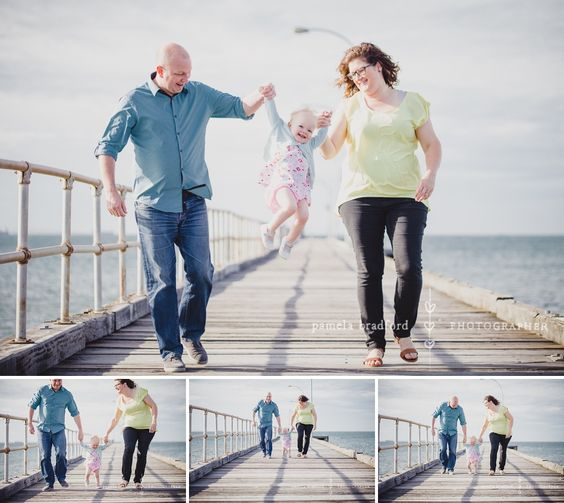 A wee bub with her folks for a family portrait session at the beach in Altona, Vic.