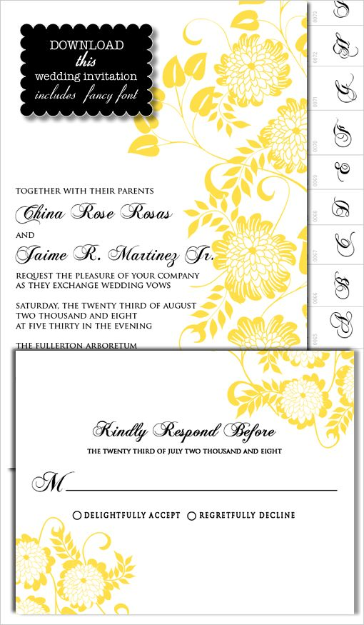 DIY Do It Yourself Dahlia Wedding Invitation Dahlia