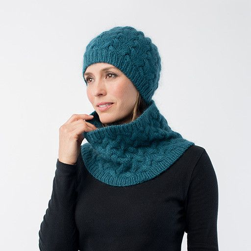 Shibui Knits' new yarn, Drift, and Silk Cloud combine with an allover cable pattern to form a unique fabric. This ensemble is the perfect soft and warm accessory set for fall.