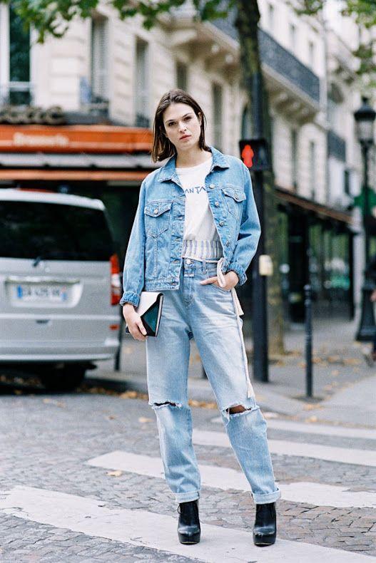 denim on denim jeans Vanessa Jackman: Paris Fashion Week SS 2016....Before Roland Mouret