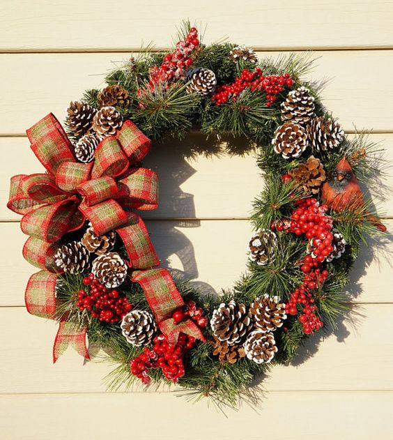 Christmas Wreath Cardinal Wreath Winter by BrandyByDesignLtd