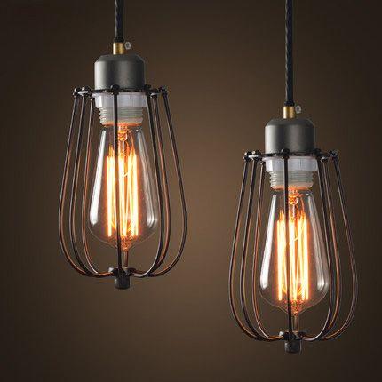 Estilo pastoral rural loft luces pendientes creativa jaula - Iluminacion estilo industrial ...