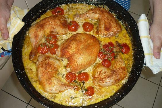 Huhn mit Mangold-Honig-Thymian-Sauce