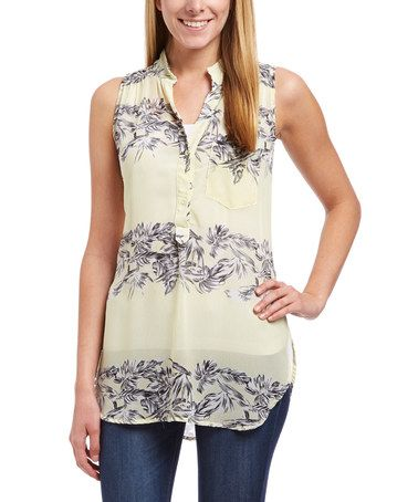 Another great find on #zulily! Yellow Leaf Button-Front Tank #zulilyfinds