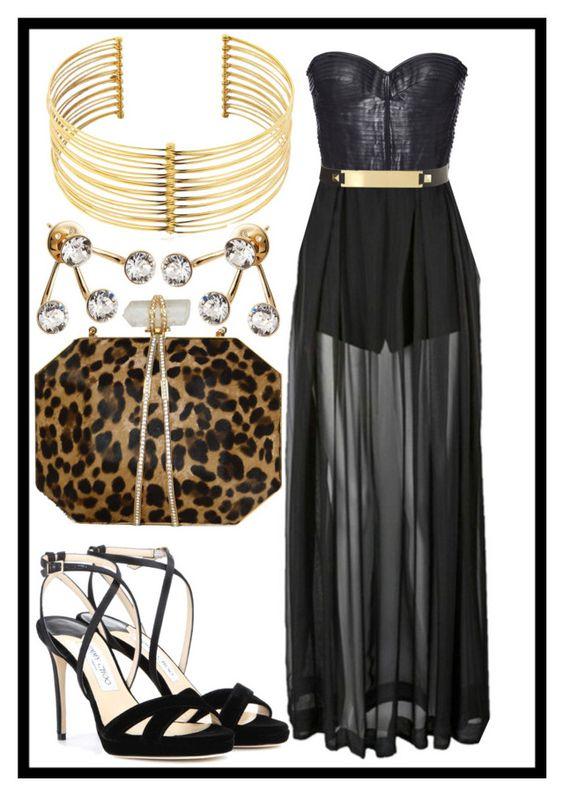 """Sexy black dress"" by vikinita ❤ liked on Polyvore featuring J. Mendel, Three Floor, Jimmy Choo, REMINISCENCE, Marchesa and CA&LOU"