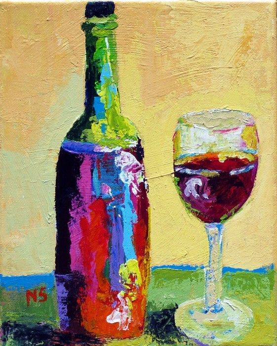 Abstract wine bottles glasses palette knife painting for How to paint bottles with acrylic