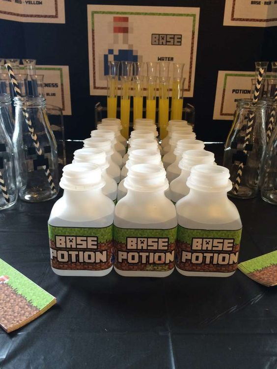 Base potion at a Minecraft birthday party! See more party planning ideas at CatchMyParty.com!