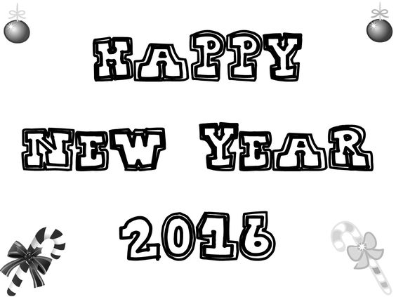 Happy New Year 2016 Printable Images for Coloring for Kids