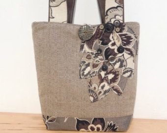 Fabric Tote Bag Green Tote Bag Brown Tote por BerkshireCollections