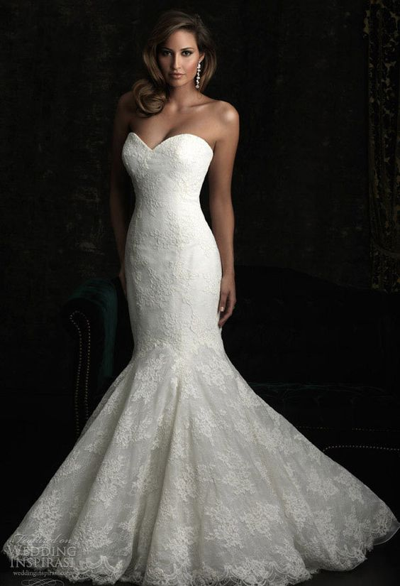 Strapless backless sweetheart mermaid trumpet romantic lace ...