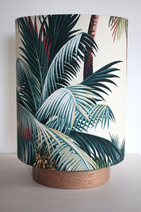 tropical palm tree barkcloth table lamp:
