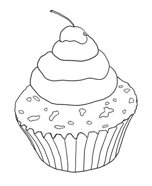 Cupcake Sugar With Cherry Coloring Page Cookie