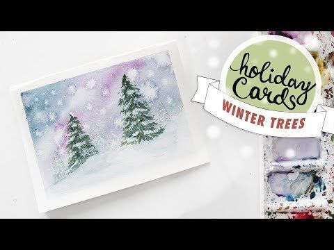 Holiday Card 4 Winter Tree Landscape Watercolour Tutorial Wet