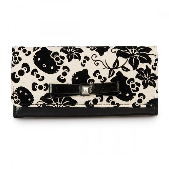 Hello Kitty Black/Cream Floral Wallet - Wallets