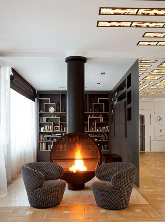 La d co avec une chemin e contemporaine foyers et design for Foyer exterieur a donner