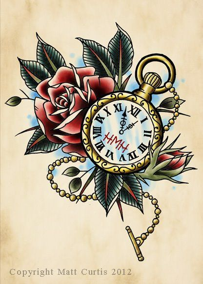 Pocket watch and rose tattoo design drawing by mr curtis at