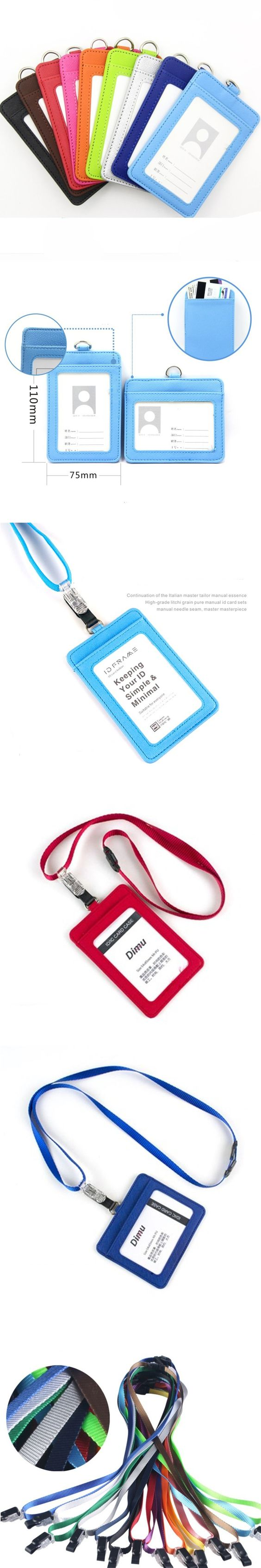 New arrival PU leather Credit Card Holder case Work Permit Candy color ID Card holders Neck Strap Bus Card ID holders lanyard $7.88