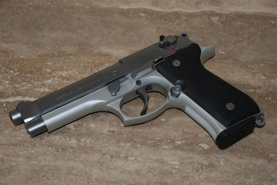 Beretta 92: Also known as Beretta 96 or Beretta 98, the semi-automatic handgun was designed by the Italian manufacturer Fabbrica d'Armi Pietro Beretta. The company was established in 1526 and it is one of the oldest arms manufacturers in the world. The gun weights 970 g and its barrel measures 217 mm in length. The gun is used by the armed forces in the United States military along in addition to the armed forces of about twenty other nations. - www.Rgrips.com