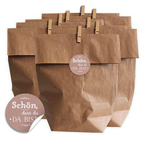 Geschenktüten Set Schön dass du da bist CHIC ROSA - SET für Plätzchen, Kekse, Bonbons und Gastgeschenke mit 24 Tüten, Miniklammern und Geschenk-Aufklebern, MATTE Papieraufkleber