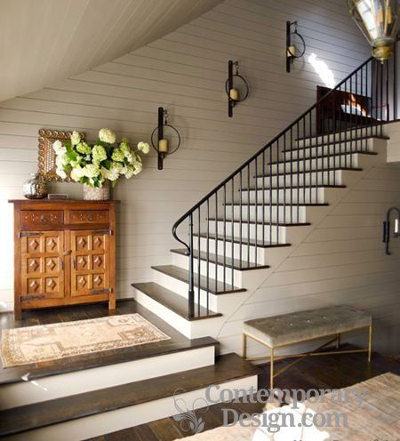 Hall stairs and landing wall sconces