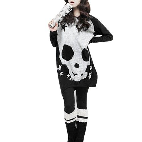 Allegra K Woman Black Long Sleeve Skull Printed Stretch Pullover Shirt S - Tops & Tees #Tops #Tees #Top #Tee #Blouses #Button-Down #Shirts #Henleys #Knits #Polos #Tanks #Camis #Tunics #Vests #Fashion #Apparel #Christmas #Wish #Wishlist #Gift #Gifts #Present #Presents #Dresses4Women $9.98
