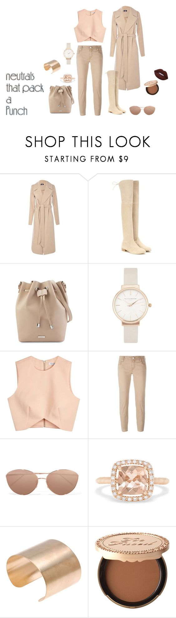 """Neutral"" by zsugabubus ❤ liked on Polyvore featuring Boohoo, Stuart Weitzman, Olivia Burton, Finders Keepers, Jacob Cohёn, Linda Farrow, Effy Jewelry, Too Faced Cosmetics and Lime Crime"