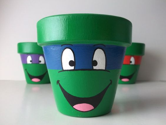 TMNT Ninja Turtles Individual Painted Flower Pot by GingerPots:
