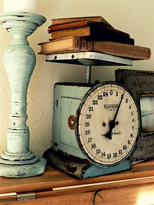Pretty Chippy Faded Blue Teal. Old fashioned scale and candlestick.