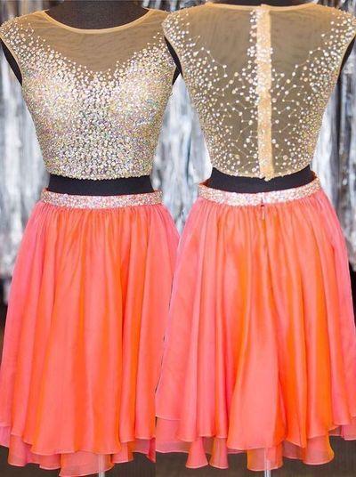 Cute Homecoming Dress,Chiffon Homecoming Dress,V-Neck Graduation Dress,Beading…