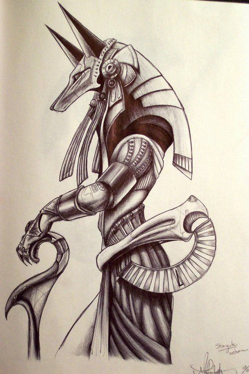 how to draw anubis god