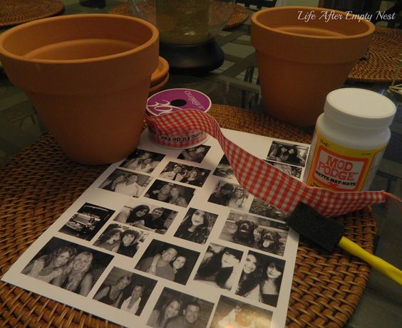 How to Make a Mod Podge Favorite Picture Flower Pot. Brought to you by Life After Empty Nest